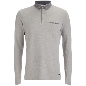 Brave Soul Men's Hera Long Sleeve Polo Shirt - Light Grey Marl