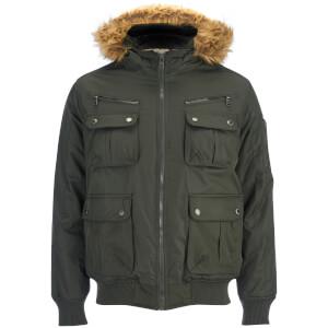 Brave Soul Men's Knight Faux Fur Trim Hooded Bomber Jacket - Dark Olive