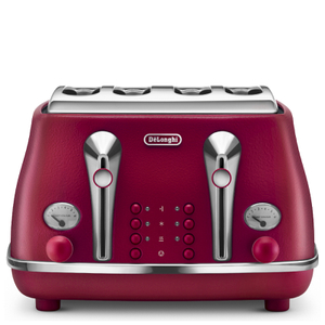 DeLonghi Elements Four Slice Toaster - Red