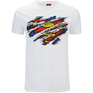 DC Comics Mens Superman Torn Logo T-Shirt - Wit