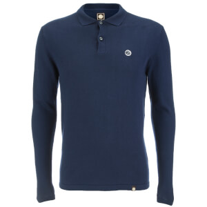 Pretty Green Men's Long Sleeve Knitted Polo Shirt - Navy