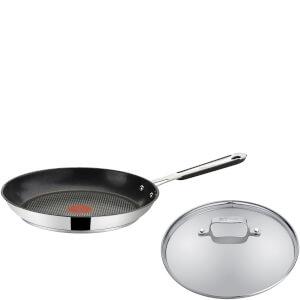 Jamie Oliver by Tefal Stainless Steel Frying Pan & Glass Pan Lid - 28cm