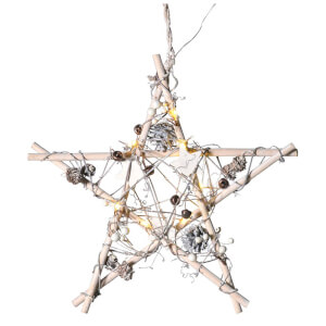 Bark & Blossom Wooden Star - White