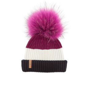 BKLYN Women's Merino Wool Hat with Fuchsia Pink Pom Pom - Black/White/Wine