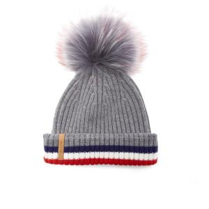 BKLYN Women's Merino Wool Hat with Grey/Red Pom Pom - Grey/Multi