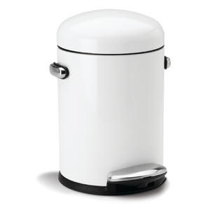 simplehuman Round Steel Retro Pedal Bin - White 4.5L