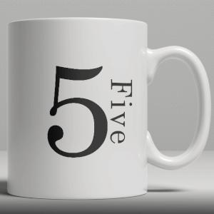 Alphabet Ceramic Mug - Number 5