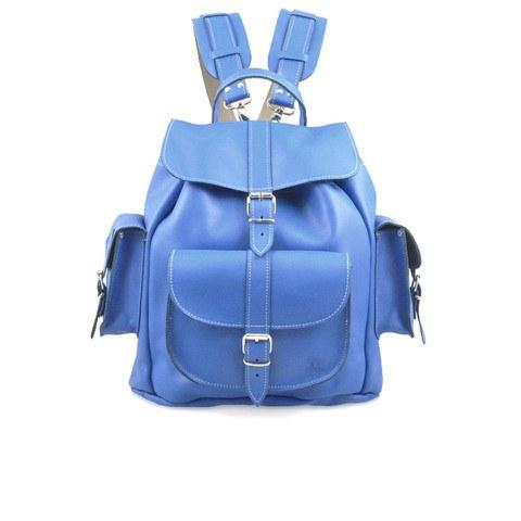 Grafea Hari Medium Leather Rucksack - Smurf Blue