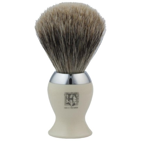 Geo. F. Trumper IB2IB Simulated Ivory and Chrome Best Badger Shaving Brush