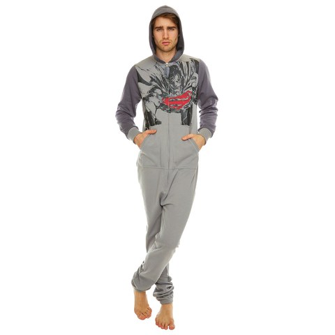 DC Comics Superman Sketch Print Hooded Onesie - Grey - One Size