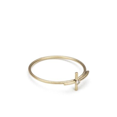 Line & Jo Women's Miss Ranee Gold Cross Diamond Ring