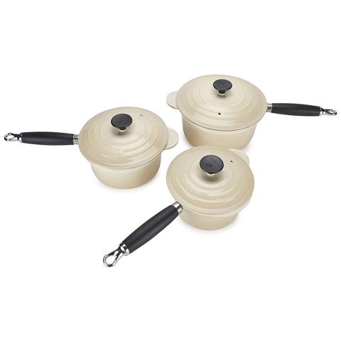 Le Creuset Cast Iron 3 Piece Saucepan Set - Almond