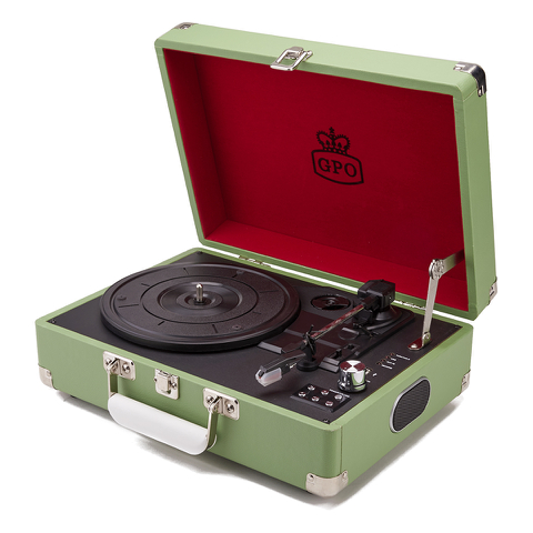 GPO Retro Attache Briefcase Style Three-Speed Portable Vinyl Turntable with Free USB Stick and Built-In Speakers - Apple Green