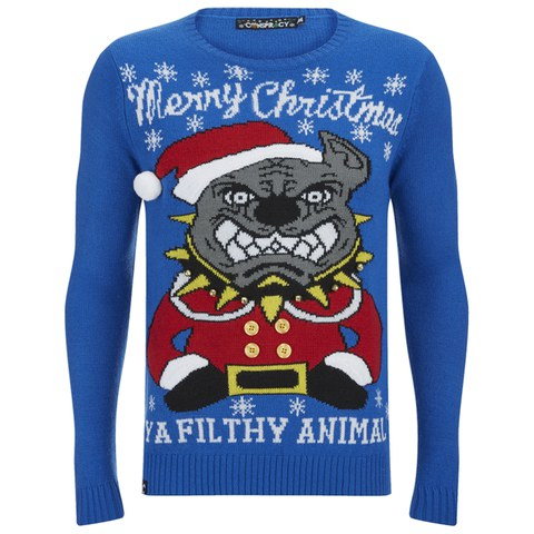 Conspiracy Men's Pitbull Christmas Jumper - Blue