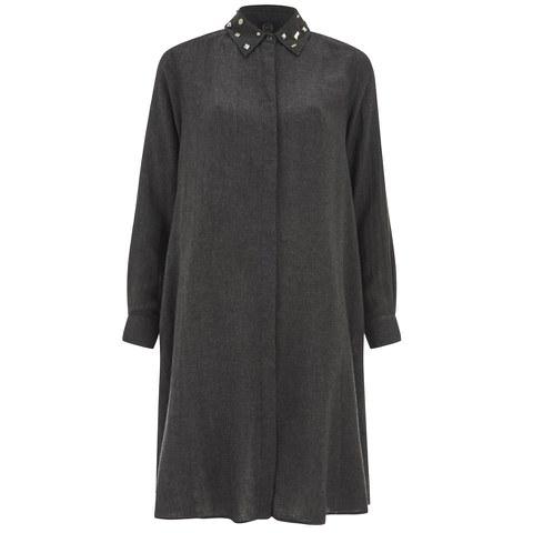 McQ Alexander McQueen Women's Long Sleeve Volume Shirt Dress - Charcoal