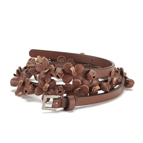 REDValentino Women's Floral Leather Belt - Tan
