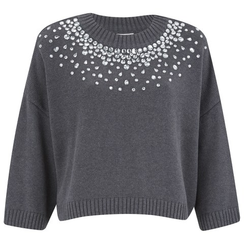 MICHAEL MICHAEL KORS Women's Embellished Neck Cropped Sweatshirt - Grey