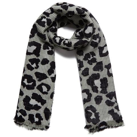 Maison Scotch Women's Lightweight Wool Scarf - Leopard