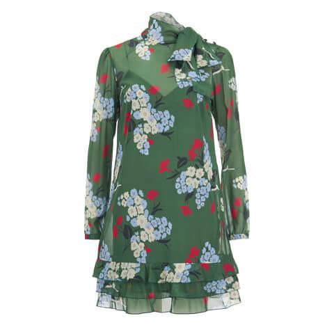 REDValentino Women's Floral Tie Neck Dress - Verde
