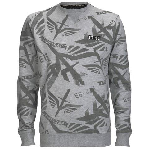 Firetrap Men's Sudrey All Over Printed Sweatshirt - Grey Marl