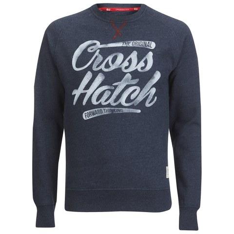 Crosshatch Men's Grabit Crew Neck Sweatshirt - Navy Marl