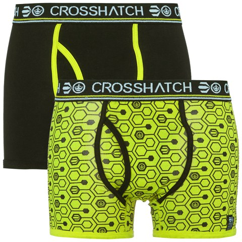 Crosshatch Men's Hexon 2 Pack Boxers - Lime Punch