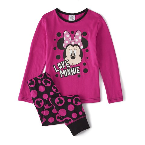 Disney Minnie Mouse Girl's Long Sleeve Pyjamas - Pink