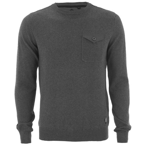 Threadbare Men's Toronto Cotton Crew Neck Pocket Jumper - Charcoal
