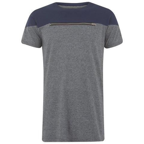 Eclipse Men's Ruskin Zip Chest Cut and Sew T-Shirt - Grey/Navy