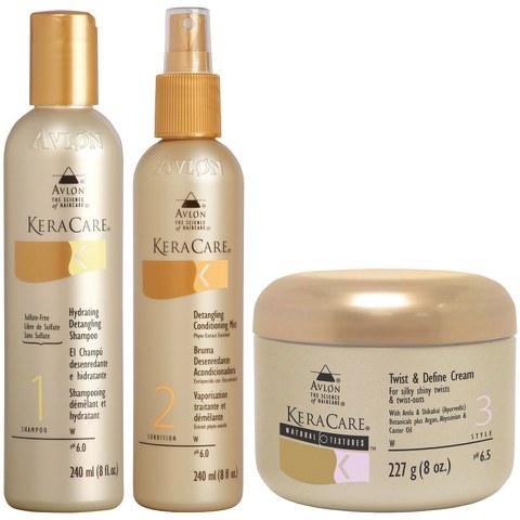 KeraCare coffret shampooing et après-shampooing démêlants et la crème texturisante et définissante
