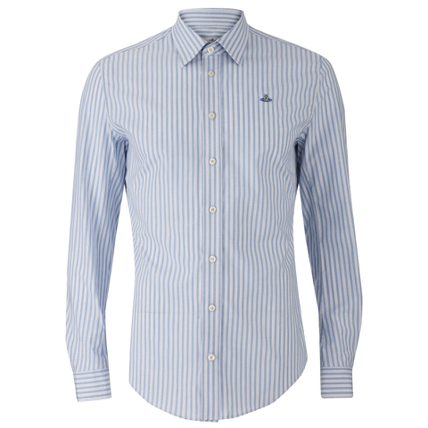 Vivienne Westwood MAN Men's Classic Stretch Stripe Long Sleeve Shirt - Blue Stripe