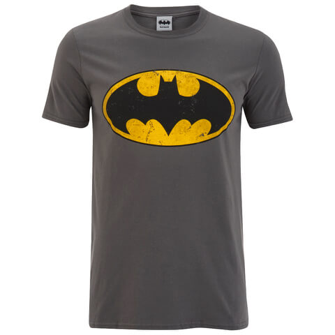 DC Comics Men's Batman Distressed Logo T-Shirt - Charcoal