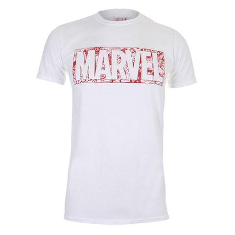 Marvel Men's Strip Logo T-Shirt - White