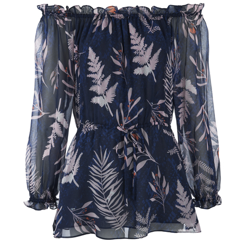 Diane von Furstenberg Women's Camila Top - Snake Leaves New Indigo