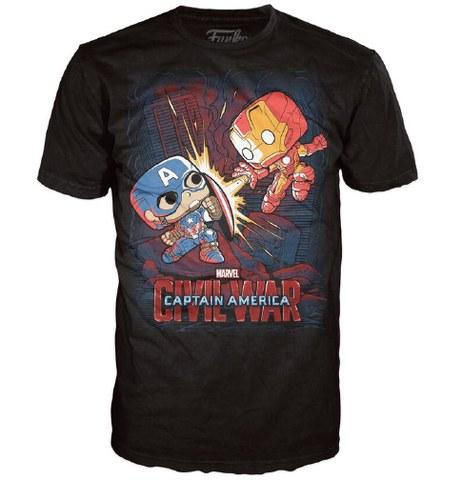 Marvel Civil War Fight Pop! T-Shirt - Black