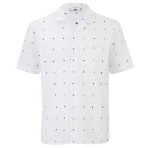 AMI Men's Tailored Collar Short Sleeve Shirt - White