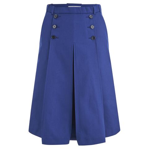 Carven Women's Midi Pleat Skirt - Navy