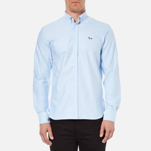 Maison Kitsuné Men's Tricolor Patch Long Sleeve Shirt - Light Blue