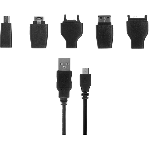 Kit Universal Charge & Data Transfer Cable with 5 Tips - Black