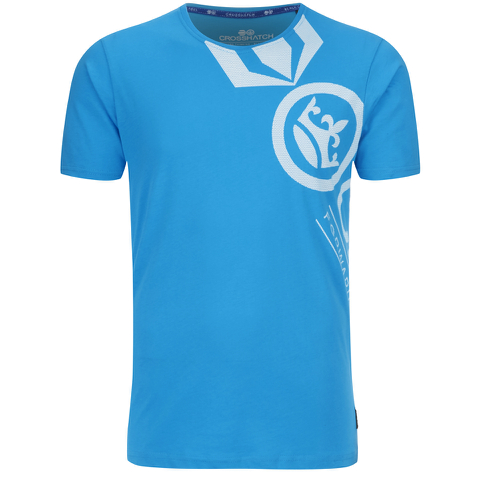 Crosshatch Men's Pacific Print T-Shirt - Blue Danube