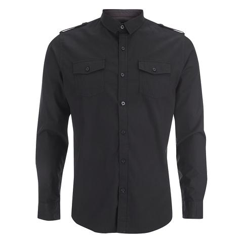 Brave Soul Men's Charlie Pocket Long Sleeve Shirt - Black