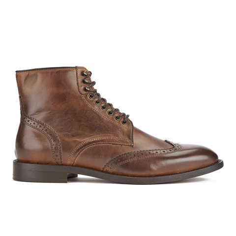H Shoes by Hudson Men's Greenham Leather Brogue Lace Up Boots - Cognac