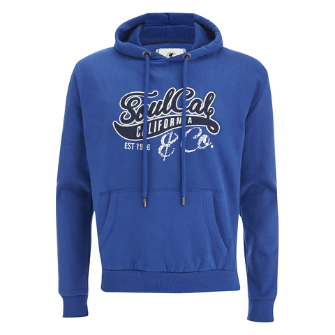 Soul Cal Men's Cracked Print Logo Hoody - Cobalt Blue