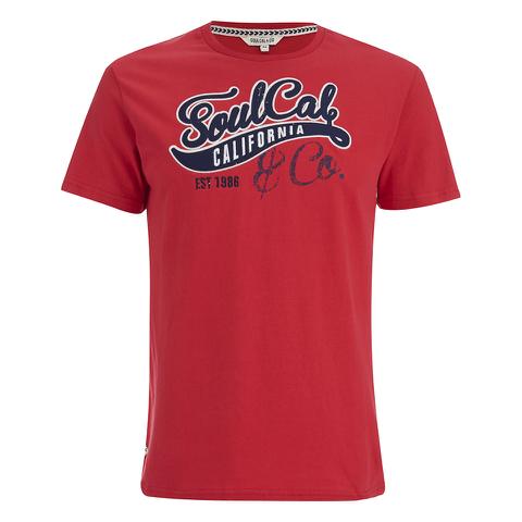Soul Cal Men's Cracked Print T-Shirt - Ribbon Red