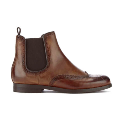 H Shoes by Hudson Women's Asta Leather Brogue Chelsea Boots - Cognac