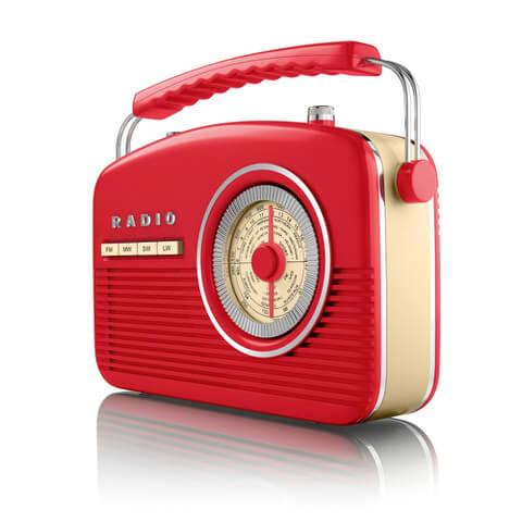 Akai Vintage 50s Style Portable Retro AM/FM Radio - Red