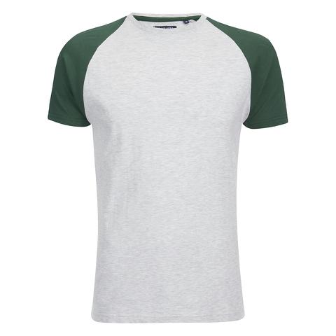 Brave Soul Men's Baptist Raglan Sleeve T-Shirt - Ecru/Bottle Green
