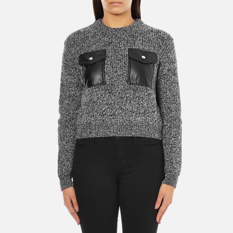 Carven Women's Leather Pocket Front Jumper - Black/White