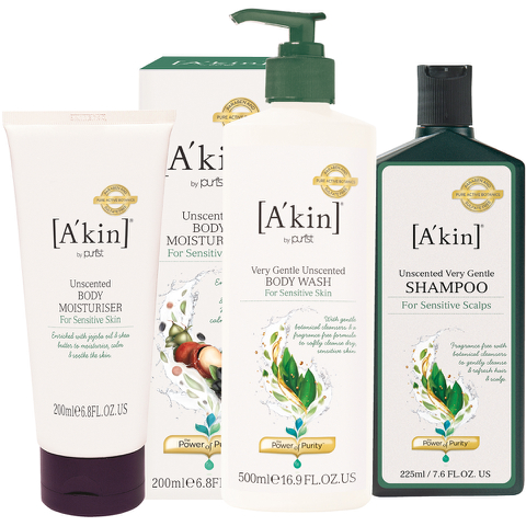 A'kin Unscented Hair and Body Trio (Worth £50.00)