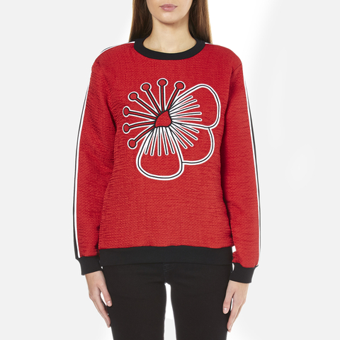KENZO Women's Quilted Sweatshirt With Athletic Side Stripe And Tenamie Flower - Red